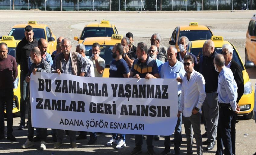 TAKSİ ŞOFÖRLERİ AKARYAKIT ZAMLARINI PROTESTO ETTİ
